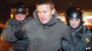 Russian police arrest Alexei Navalny in Moscow, 5 March