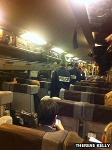 Police on Eurostar train 9030 from London to Paris.