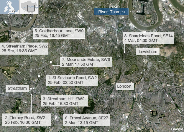 Maps showing where the stabbings took place