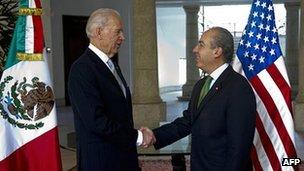 Joe Biden (left) and Felipe Calderon (right)