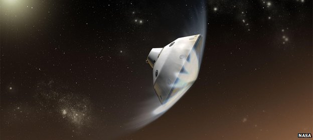 Artist&#039;s impression of the entry into the atmosphere of Mars