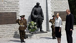 Soviet memorial during a relocation ceremony