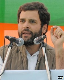 Rahul Gandhi delivers a speech during a Congress election campaign rally 25 January 2012