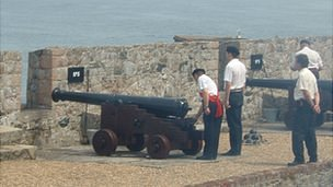 21-gun salute being fired at Castle Cornet in Guernsey