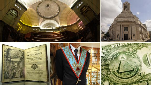 Clockwise from top left: Egyptian room inside Freemasons&#039; Hall, London; facade of the same; Benjamin Franklin on US note; detail of worshipful master; Masonic founding constitution (images courtesy of Thinkstock and Getty images)