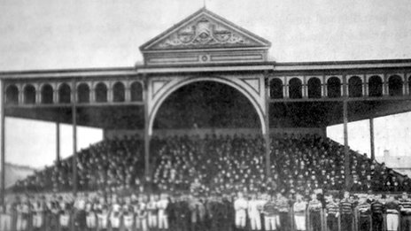 The first grandstand at Cardiff Arms Park