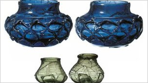 Glass pots found in the Saxon burial chamber in Priory Park in 2003