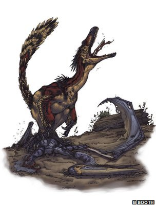 An artist's impression of the Velociraptor feeding (c) Brett Booth