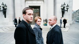 Spooks cast, L to R: Matthew McFayden, Keeley Hawes and Peter Firth