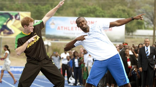 Prince Harry has taken part in a 'race' with Olympic 100m champion Usain Bolt during his visit to Jamaica.