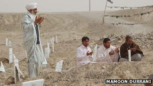 Mourners at graveyard in Arghandab district, Kandahar (March 2012)