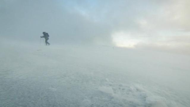 Kate Humble climbing a snowy mountain