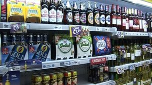 Alcohol on shop shelves