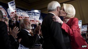 Newt Gingrich and his wife, Callista, as he delivers his victory speech in Atlanta, Georgia 6 March 2012