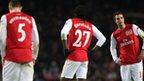 Thomas Vermaelen, Gervinho and Robin van Persie are disappointed at the final whistle