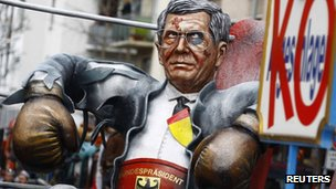 German President Christian Wulff is pictured during of the traditional Rose Monday street carnival parade in Mainz