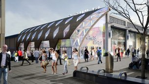Artist impression of new Sheffield market on The Moor