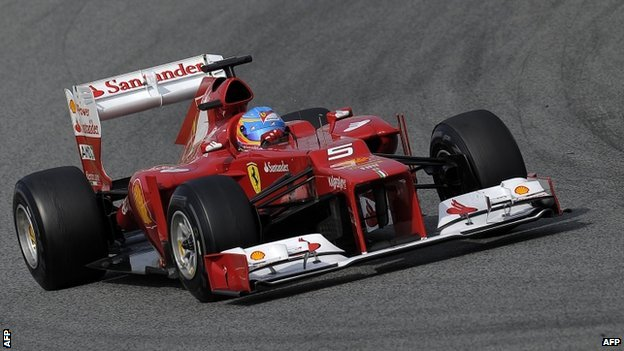 "Ferrari""s Spanish driver Fernando Alonso takes part in the Formula 1 test days at Catalunya""s racetrack in Montmelo, near Barcelona on March 4."