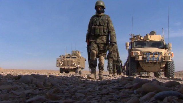 Soldiers on patrol in Afghanistan