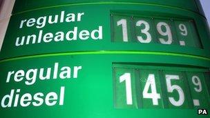 Petrol on sale at a BP garage in St John's Wood, London