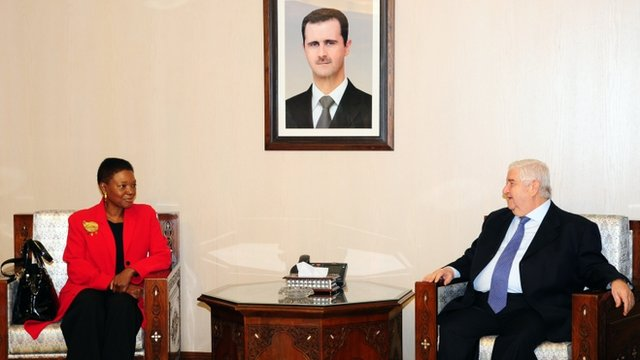 Syrian Foreign Minister Walid Muallim meets UN humanitarian chief Valerie Amos in Damascus