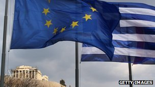 EU and Greek flags flying in Athens