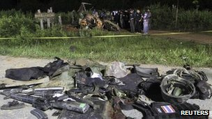 Wreckage from the blast in Narathiwat on 8 March 2012