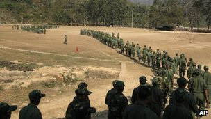 Kachin army soldiers near Laiza, Burma (13 Feb 2012)