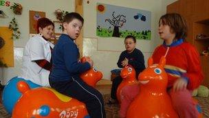 Kids at the children's centre in Veszto