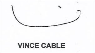 One of Vince Cable's signatures