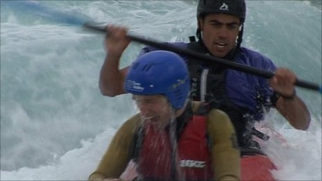 Johny Akinyemi (right) on the rapids with BBC's Jeremy Walker