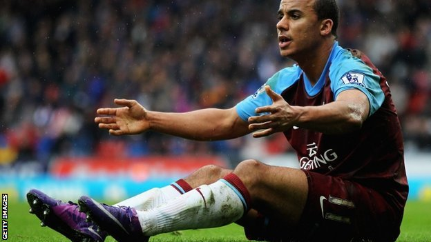Aston Villa striker Gabriel Agbonlahor during the Premier League match with Blackburn Rovers on 3 March 2012