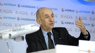 EADS CEO Louis Gallois speaks during the press conference in Paris