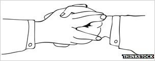 Illustration of a &quot;masonic handshake&quot;