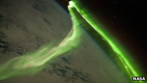 Aurora borealis seen from space