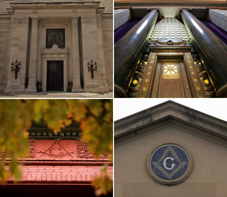 Masonic lodges and symbols on buildings in London and Washington DC (images courtesy of BBC and Getty)