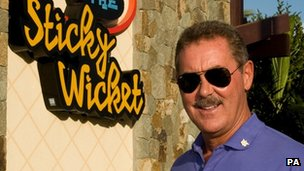 Allen Stanford outside the Sticky Wicket sports bar