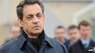 French President Nicolas Sarkozy on a visit to Saint-Quentin, north-eastern France, 5 March