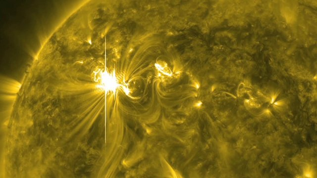 Nasa image showing large solar flare on Sun