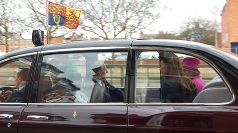 The Queen, Prince Philip and the Duchess of Cambridge in Leicester
