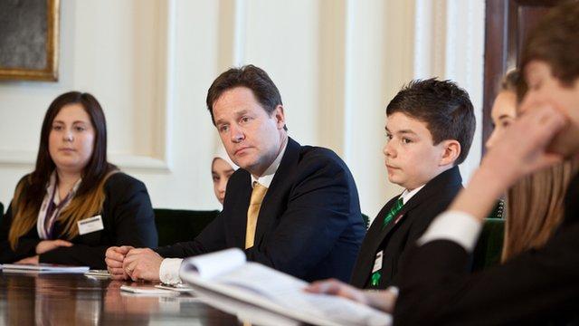 Nick Clegg being interviewed by School Reporters