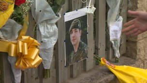Tributes outside the home of Pte Christopher Kershaw in Bradford