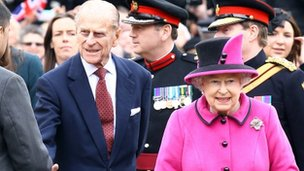 Prince Philip ad the Queen in Leicester