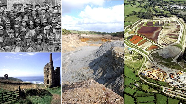 Tin miners, the Cornish landscape, Wheal Maid and Wheal Jane (Photos, clockwise from top left; JC Burrow, Dave Johnston, Environment Agency, BBC)