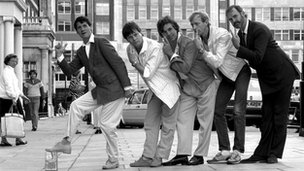(From left to right) Michael Palin, Terry Gilliam, Terry Jones, Graham Chapman and John Cleese