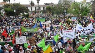 Supporters of Ecuadorian President Rafael Correa demonstrate in the capital Quito