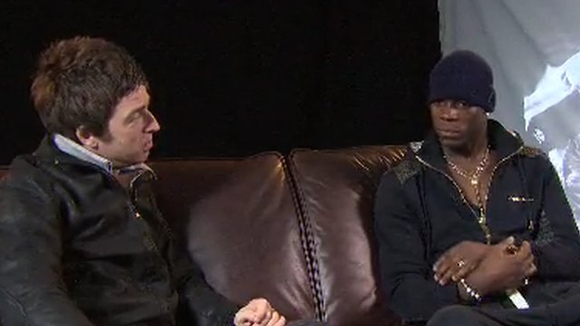 Noel Gallagher (left) with Mario Balotelli