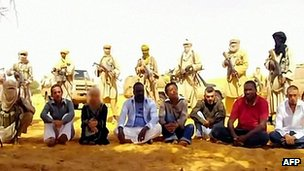 Workers from uranium mine in Niger kidnapped by al-Qaeda in the Islamic Maghreb. Sept 2010