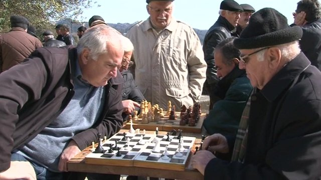 Chess players in the Abkhaz capital Sukhumi