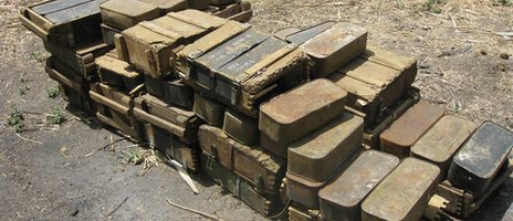 Boxes of ammunition